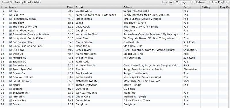 iTunes 8 Experiment.  What does it suggest for Brooke? Freeplaylist
