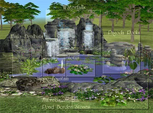 Jardines, fuentes, exterior PondOverview