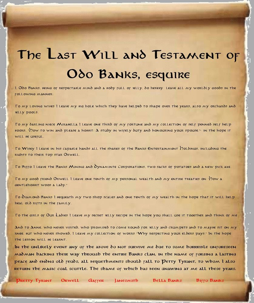 The Last Willl and Testament of Odo Banks Will
