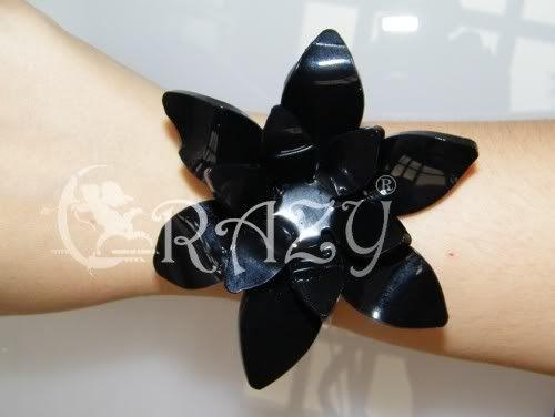 Bracciale plexiglas fiore nero  Fiorebracciale2