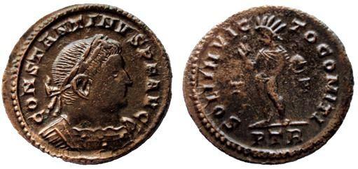 AE3 de Constantino I.  SOLI INVICTO COMITI. Trier Constantinus%20I%20AE%20Follis%20Trier%20RIC%20VII%2042%20R3-_zpsdpurzomb