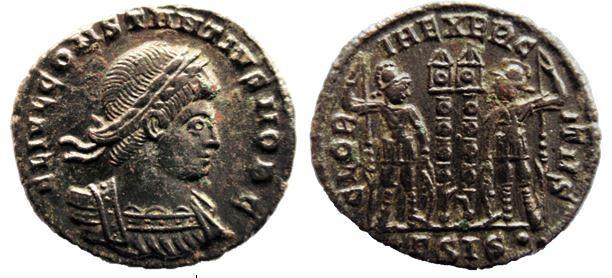 AE3 de Constancio II. GLORIA EXERCITVS. Siscia Constantius%20II%20AE%20Follis%20Siscia%20RIC%20VII%20237%20R4-_zpszng07w1r