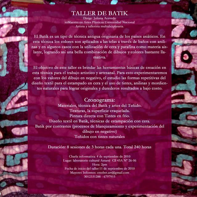 Charla Informativa acerca del Taller de Batik TalleresdeBatik