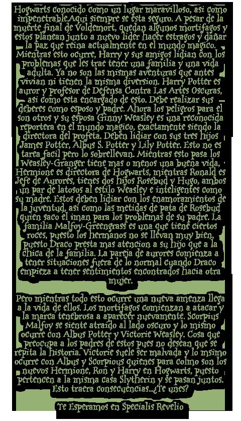 Specialis Revelio[FORO NUEVO][HP SECOND GENERATION Historia