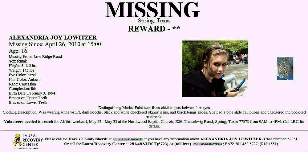 "Missing since April 26, 2010 : Alexandria ""Ali"" Joy Lowitzer/Possible connection to Brandon Scott Lavergne, who pled Guilty to murders of Mickey Shunick and Lisa Pate AlexandriaAliLowitzer"