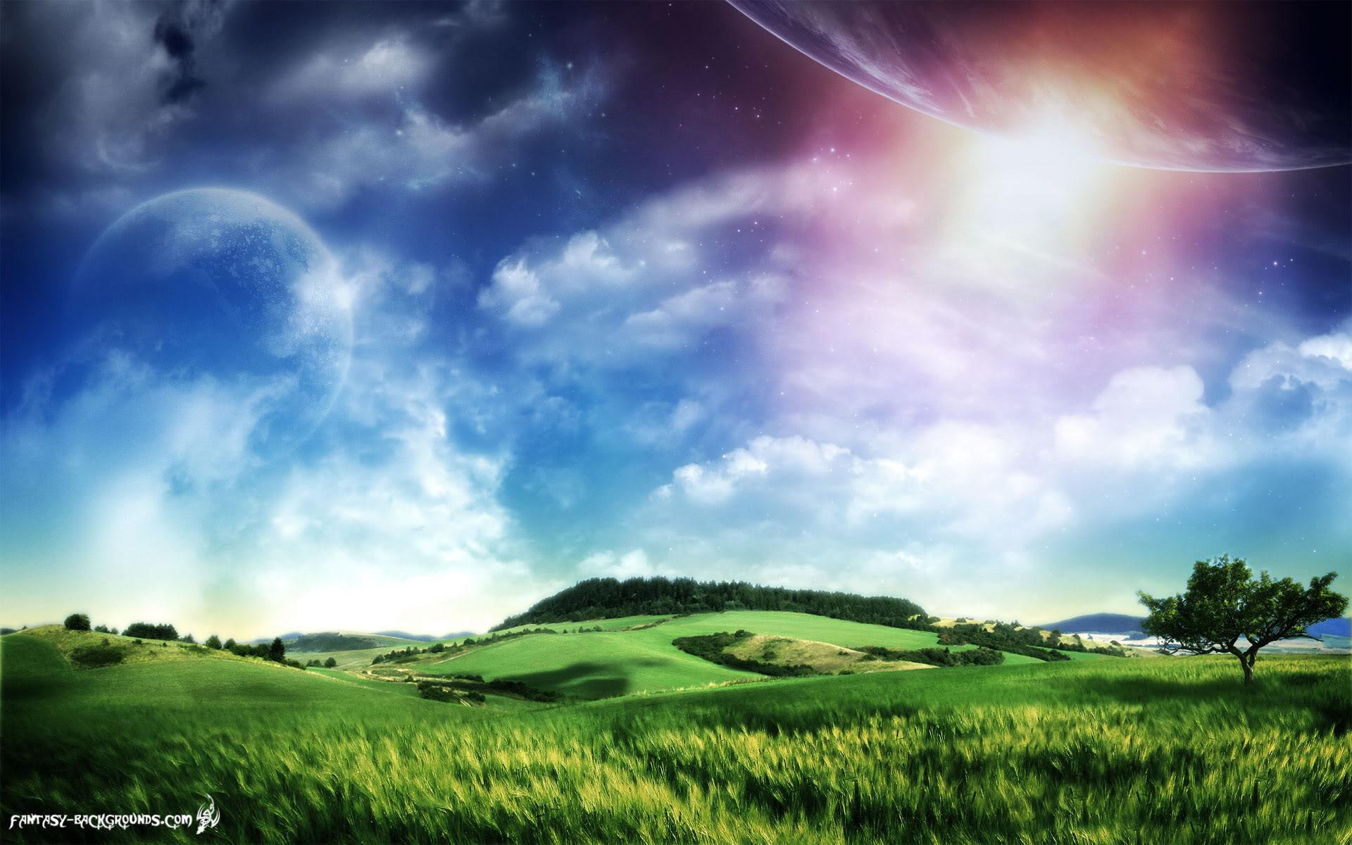 Sci-fi Meadow and Sky Wallpaper
