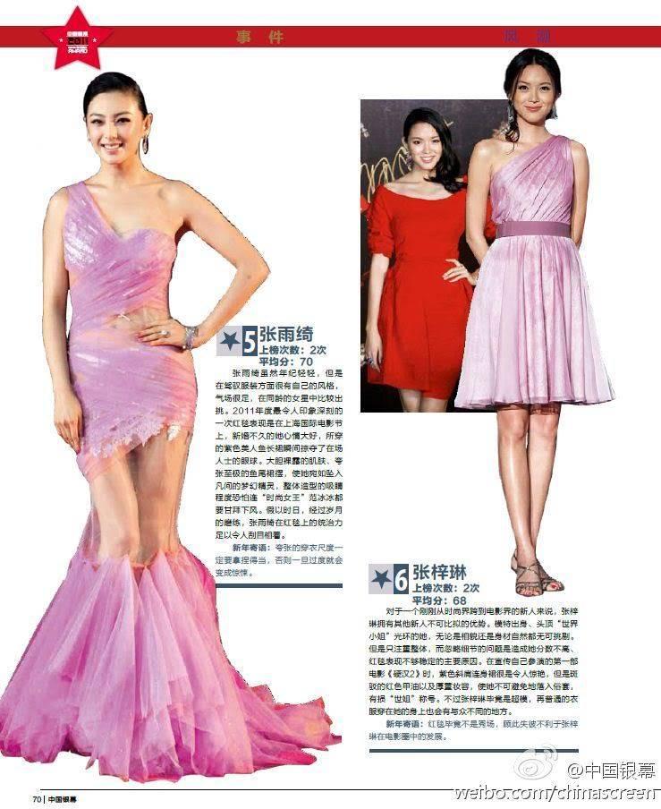 รางวัลนักแสดงแต่งกายดีประจำปี 2011 ของนิตยสาร China Screen 5-6
