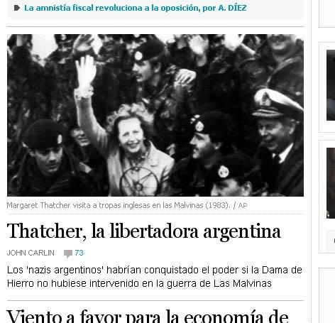 "Según el diario español EL PAÍS: ""Thatcher, la libertadora argentina"" ThatcherLibertadora"