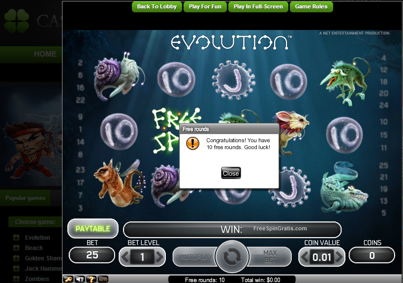 CasinoLuck10freespins Evolution 12102012131020121410201215102012 Casino Luck 10 free spins on Evolution (NetEnt) 12.10.2012, 13.10.2012, 14.10.2012, 15.10.2012, 16.10.2012, 17.10.2012, 18.10.2012