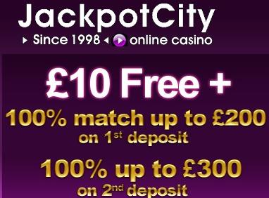 JackpotCity Casino $€£ 10 Exclusive Free Spins, Gratis Spinn, Freispiele, Gratis Spins - Microgaming Video Slots JackpotCityCasino10freenodepositbonus