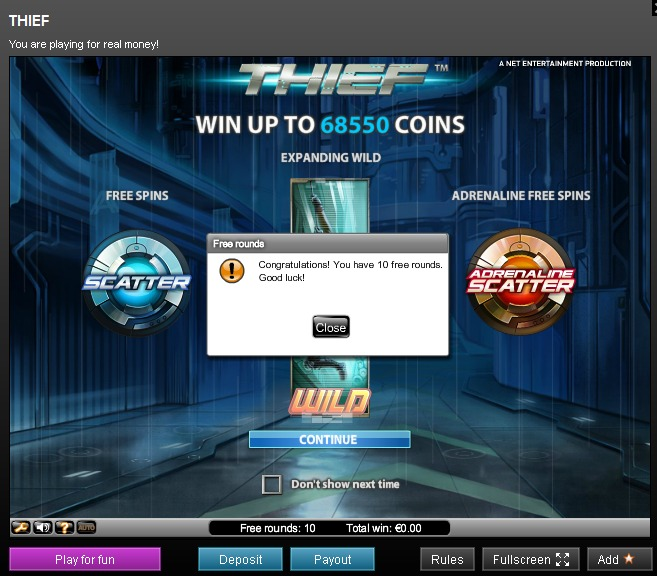 Maxino 10 Free spins - Thief netent slot