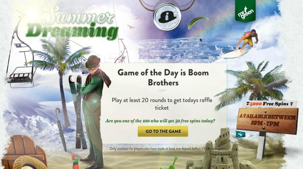 MrGreen 5000 Free Spins every day promotion, gratis spins netent slot MrGreeCasino5000FreeSpinsSummerDreamingExclusiveTriptoMexico-1