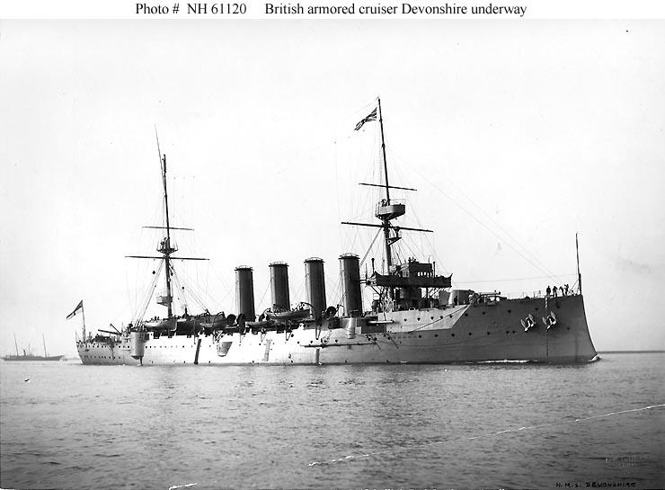 ROYAL NAVY : CROISEUR DE BATAILLE - Page 2 HMS_Devonshire_1904_zps347d9b3a