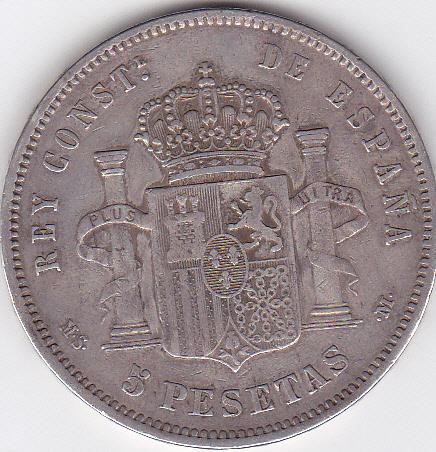 5 pesetas 1882 *18-82 M-S-M. Alfonso XII. Purlom_0004_zps820f3186