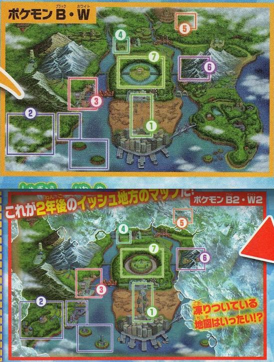 Comparación oficial del mapa de Unova.   Famitsu_dswii_jul12_b2w2map1