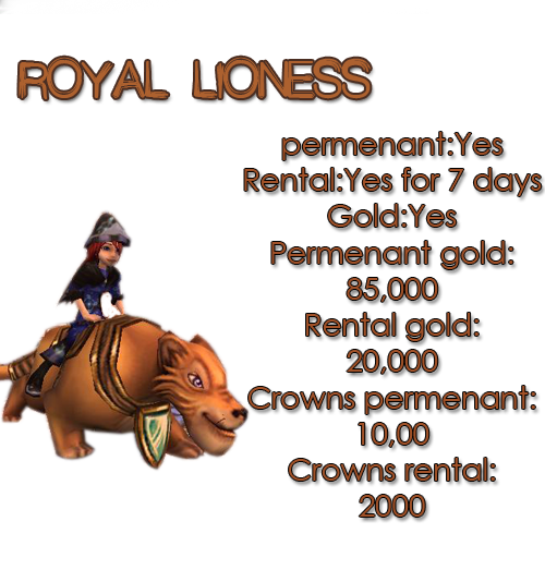 Guide for all mounts ROYALLIONESS