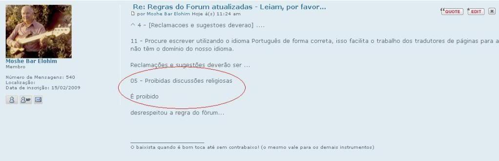 Regras do Forum atualizadas - Leiam, por favor... Moshe