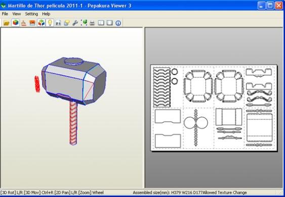 Martillo de Thor - Iniciacion en el Papercraft (mjolnir) Fabricar-martillo-de-thor-mjolnir-pepakura-1
