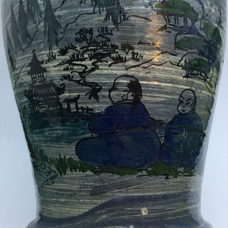 Chunky vase with hand-painted Oriental scenes IMG_5636