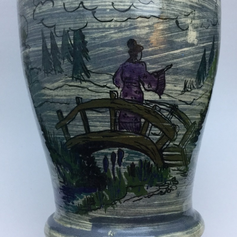Chunky vase with hand-painted Oriental scenes IMG_5637