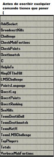 Lista de Comandos en el juego Listadecomandos