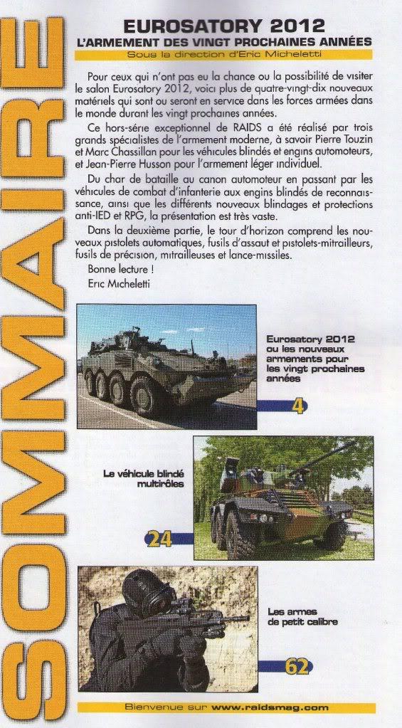 """RAIDS. Hors-série N°45. """"L'armement des vingt prochaines années. Eurosatory 2012"""". RAIDHS45_2"""