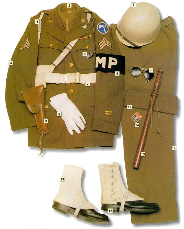 Los uniformes de la Segunda Guerra Mundial CorporalUSMilitaryPolice1945