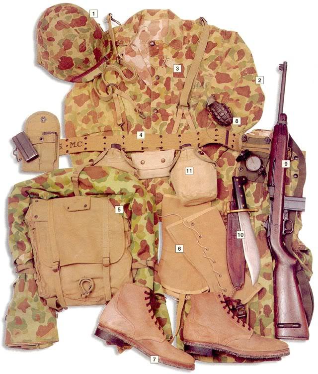 Los uniformes de la Segunda Guerra Mundial USMCprivatePacific1944