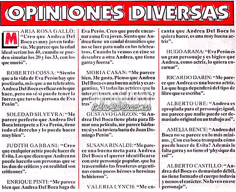 """[Ahora, año 1996] Andrea del Boca: """"Yo voy a hacer de Eva Peron"""" Opinionesdiversas1"""