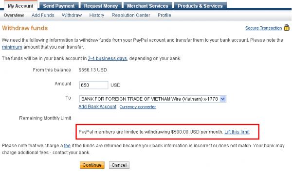 """Biểu tượng """"Hạn Mức Gửi Và Rút"""" trong PayPal có làm bạn lo lắng? Paypal_withdrawal_limits-600x358"""