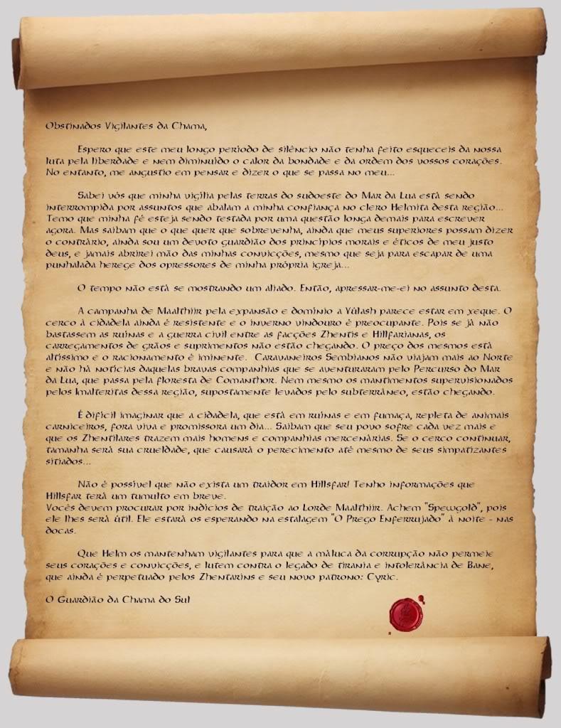 Diário de Campanha - Vigilantes da Chama (Desativado). CartaGRANDE