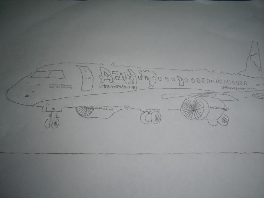 Desenho a mão do EMB-190 PR-AZL 001