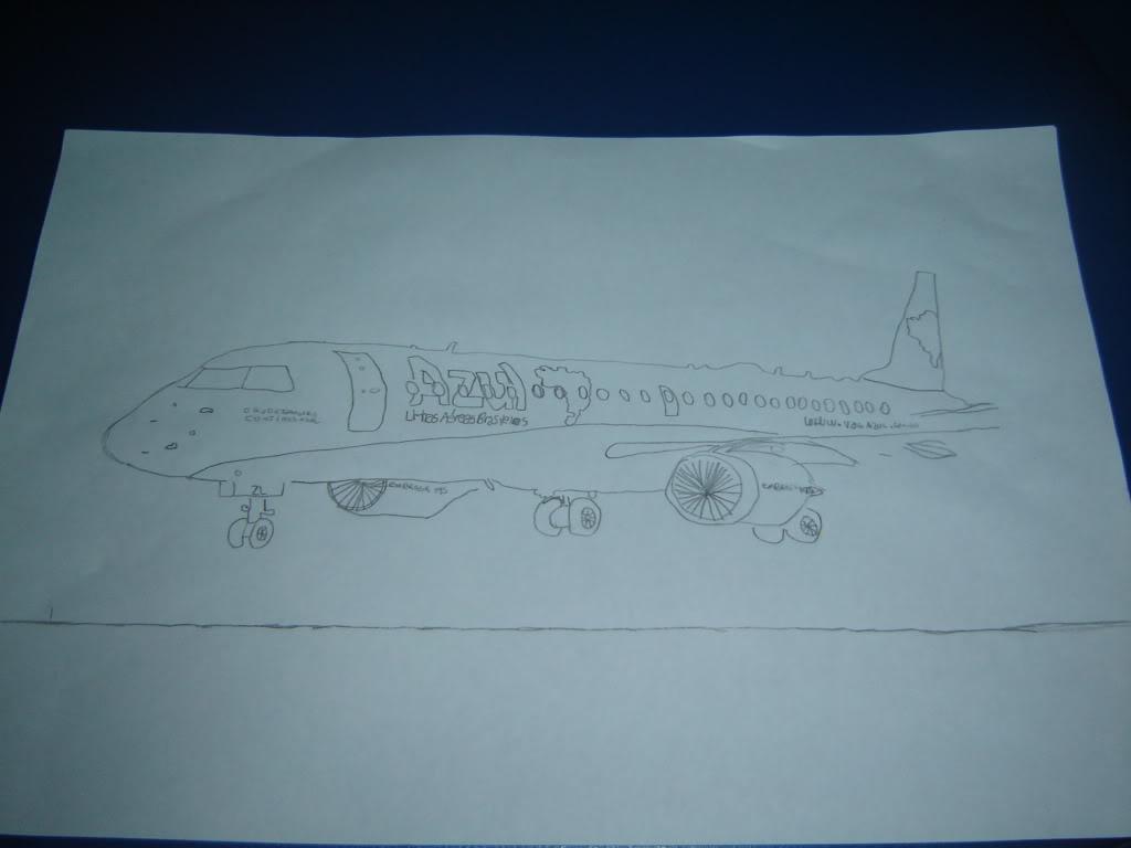 Desenho a mão do EMB-190 PR-AZL 002