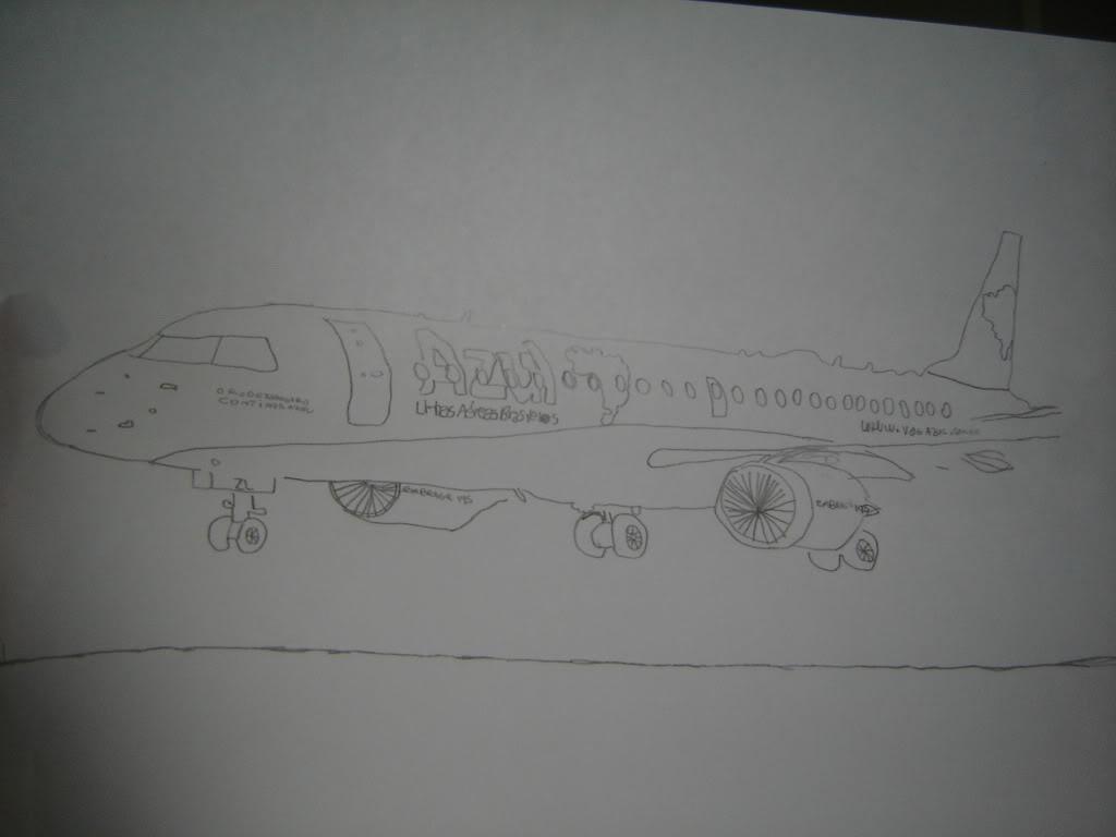 Desenho a mão do EMB-190 PR-AZL 003