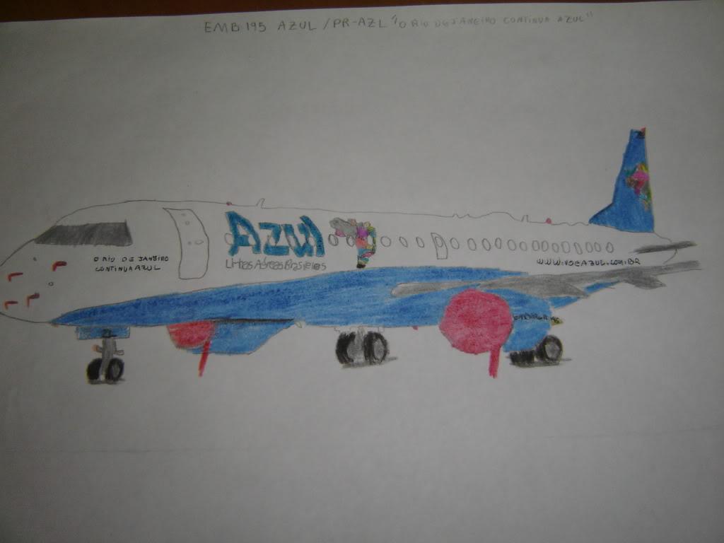 Desenho a mão do EMB-190 PR-AZL 004