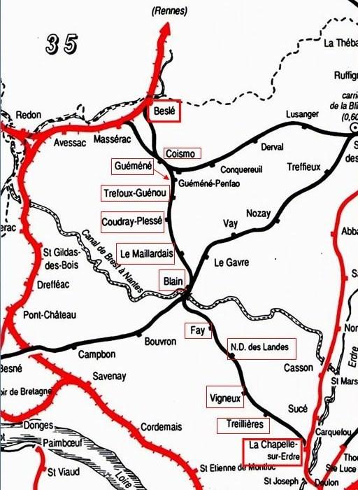 Ligne de La Chapelle sur Erdre - Blain - Beslé (1901-1910-1952) 1-CarteLaChapelleBesl