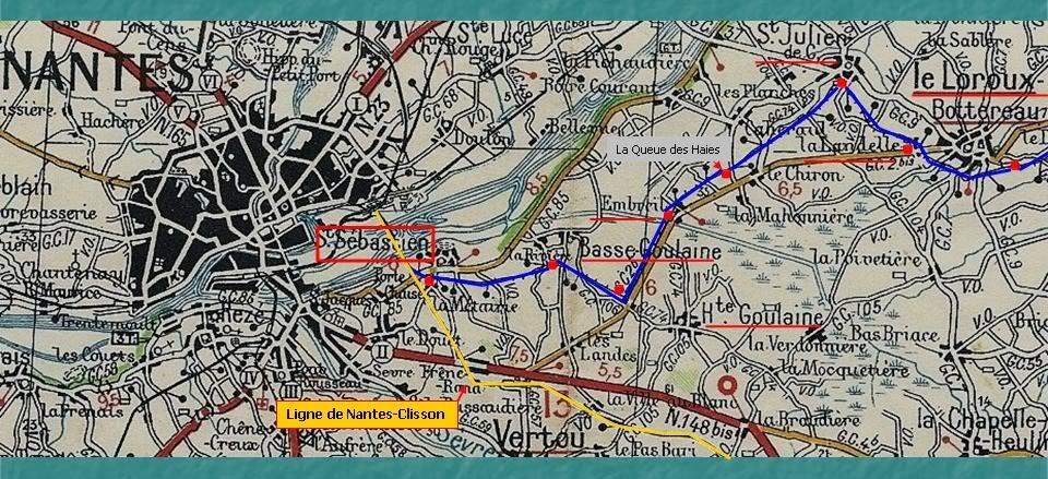 Ligne du Petit Anjou en 44 de Nantes à La Remaudière (1899-1947) 1-LignedupetitAnjouNantes-LeLorouxBottereauMichelin1933