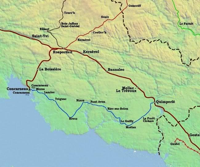 Ligne de Quimperlé-Pont-Aven-Concarneau (1903-1908-1909-1936) 1-cartedelaligne