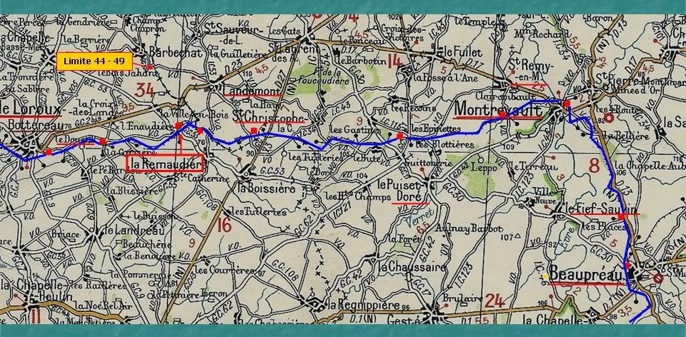 Ligne du Petit Anjou en 44 de Nantes à La Remaudière (1899-1947) 18-LaLignedupetitAnjouduLorouxBeauprauMichelin1933
