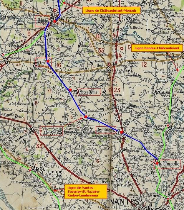 Ligne de La Chapelle sur Erdre - Blain - Beslé (1901-1910-1952) 2-CarteroutireMichelin1939LaChapelleBlain