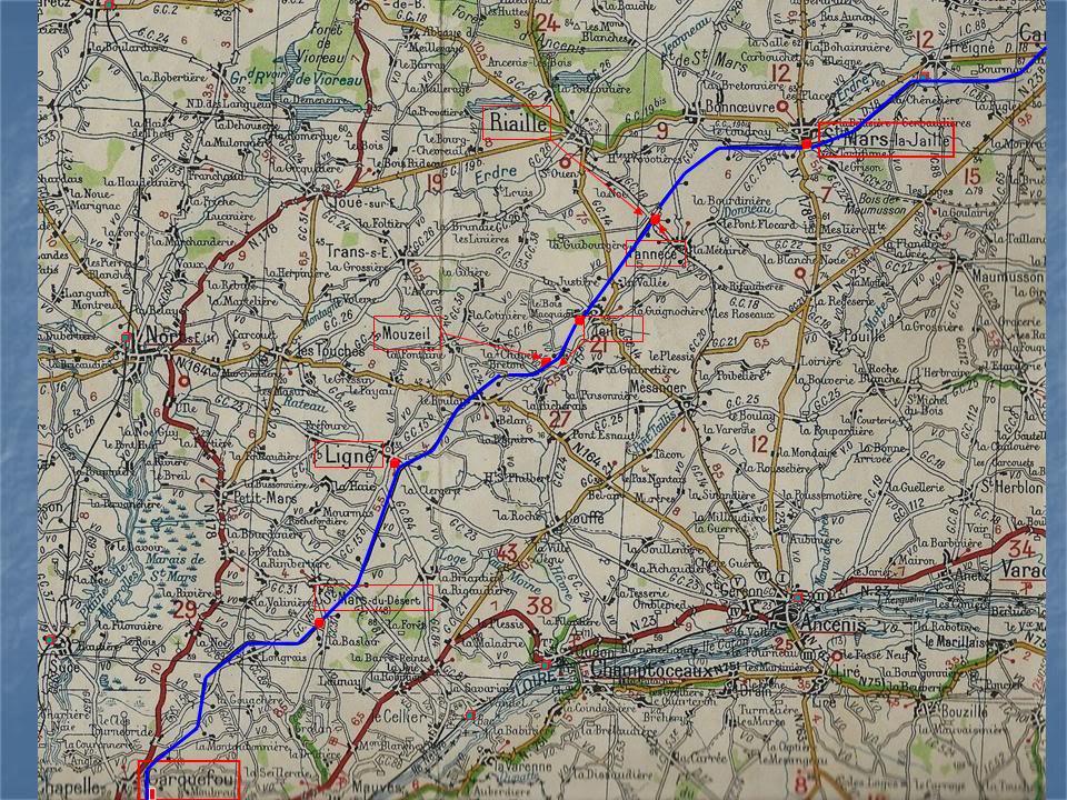 Ligne de Nantes - Segré (1185-1988) Voie Verte de Carquefou à St Mars la Jaille  2-lalignedeCarquefouStMarscartemichelin1939