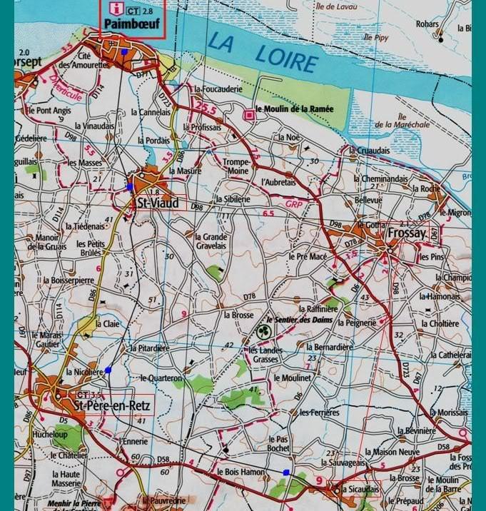 Ligne de St Hilaire de Chaléons à Paimboeuf de 1876 à nos jours 21-LaSicaudais-Paimboeuf-carteIGN