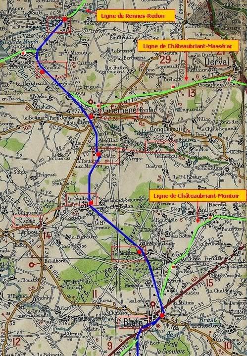 Ligne de La Chapelle sur Erdre - Blain - Beslé (1901-1910-1952) 27-CarteMichelin1939deBainBesl