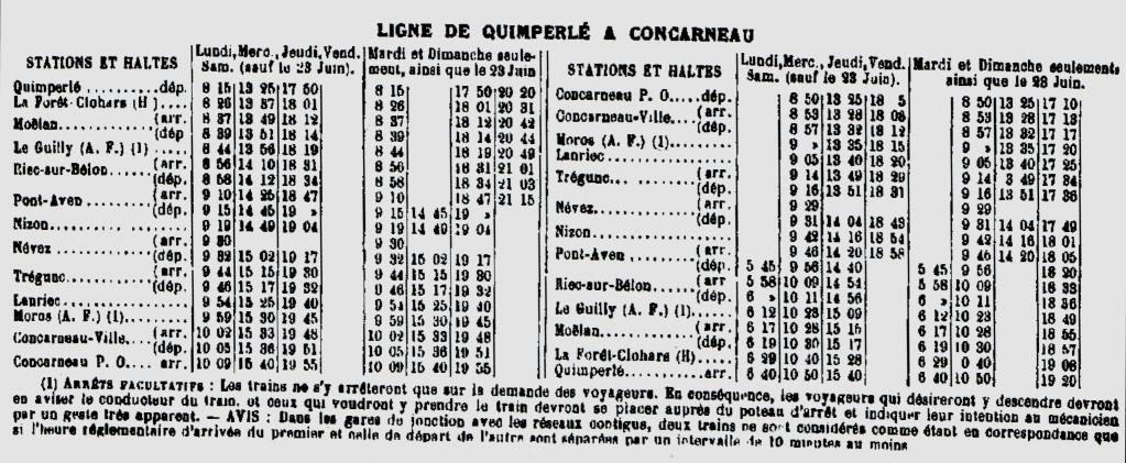 Ligne de Quimperlé-Pont-Aven-Concarneau (1903-1908-1909-1936) 31-HORAIRES1926
