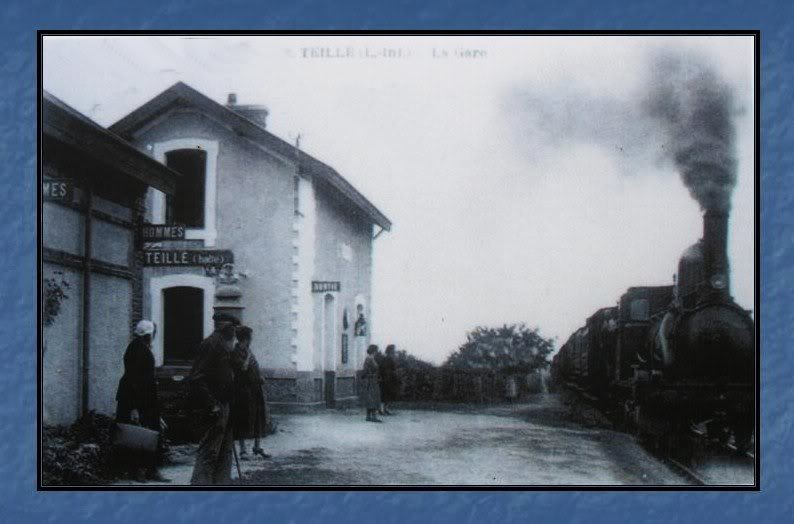 Ligne de Nantes - Segré (1185-1988) Voie Verte de Carquefou à St Mars la Jaille  32-CartepostaleanciennedelahaltedeTeill