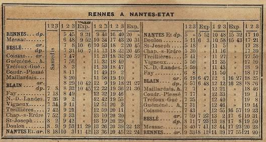 Ligne de La Chapelle sur Erdre - Blain - Beslé (1901-1910-1952) 62-Horaire1926_27pages6_7