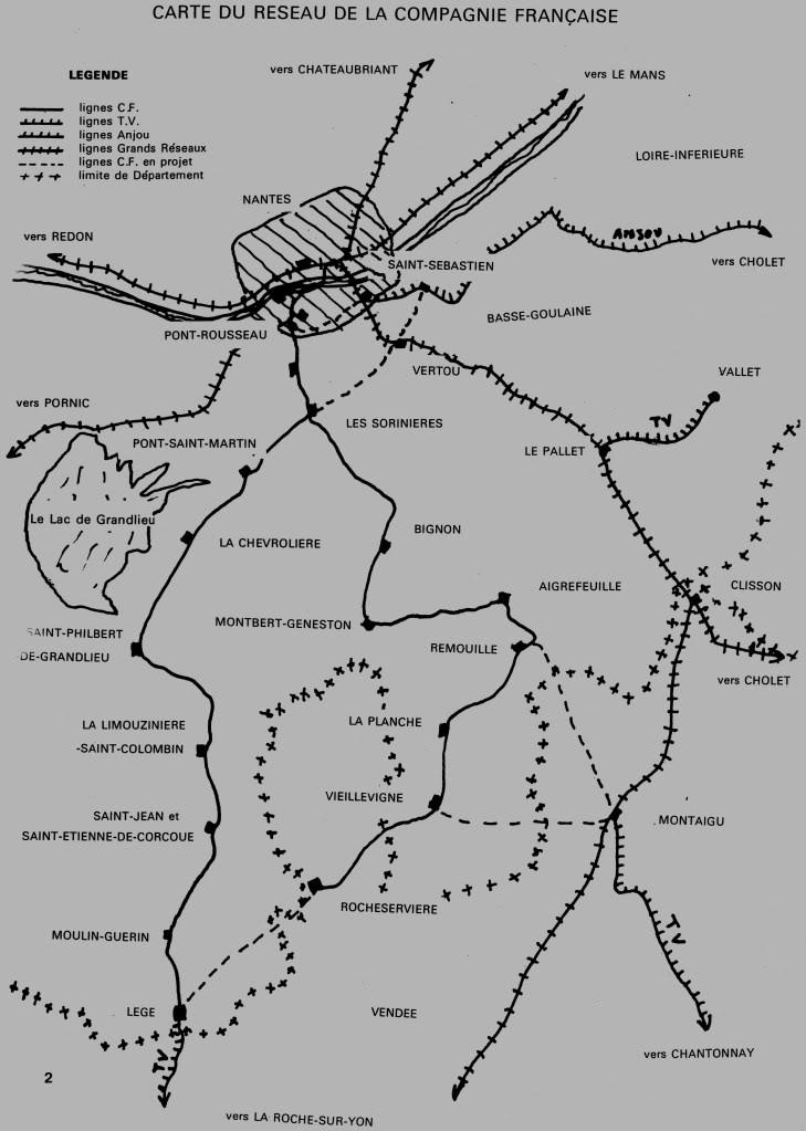 Ligne Les Sorinières (44) à Rocheservière (85) de gare en gare (1903-1938) CarteCompagnieFrancaise015