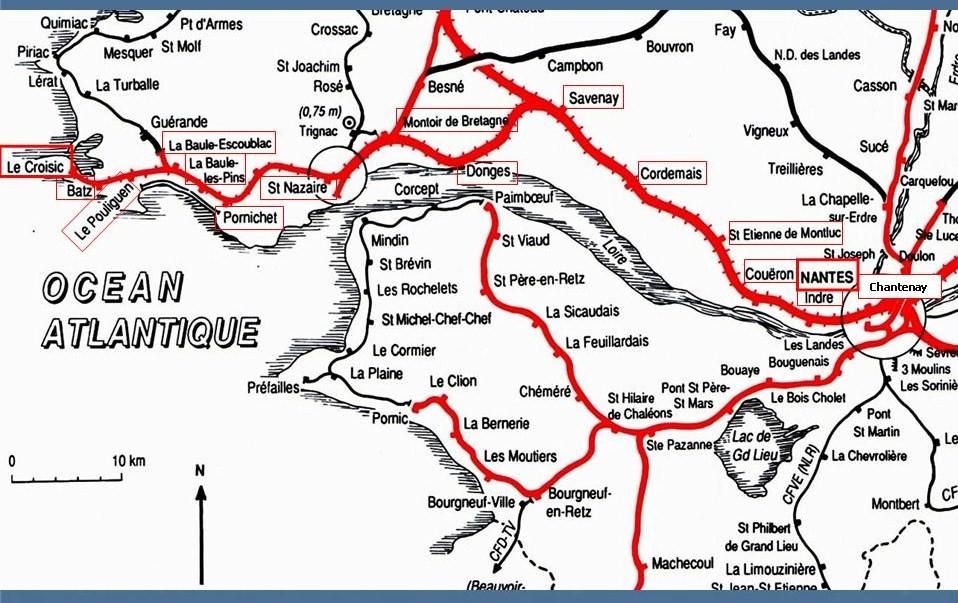 Les gares de Nantes à Savenay - Ligne Nantes-Le Croisic-Redon-Quimper 1-CarteNantes-LeCroisic