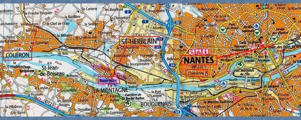 Les gares de Nantes à Savenay - Ligne Nantes-Le Croisic-Redon-Quimper 2-CarteIGNNantes-Coueacuteron