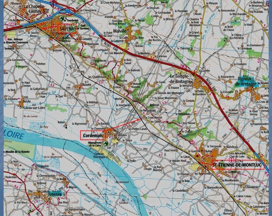 Les gares de Nantes à Savenay - Ligne Nantes-Le Croisic-Redon-Quimper 28-CarteIGNStEtiennedeMontluc-Savenay
